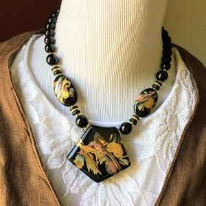 Vintage Japanese lacquer bold statement necklace